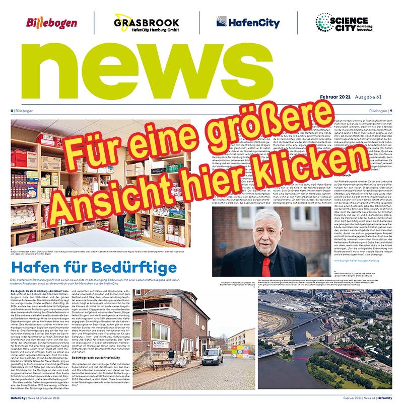 Hafencity Hamburg News berichtet über HelferTeam Rothenburgsort – BÜRGER-HELFEN-BÜRGERN e.V. HAMBURG