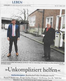 Hafencity Zeitung berichtet über HelferTeam Rothenburgsort vom gemeinnützigen Trägerverein Bürger helfen Bürgern e.V. Hamburg