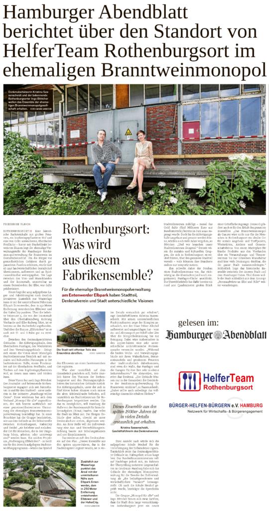 Hamburger Abendblatt berichtet über Standort von HelferTeam Rothenburgsort