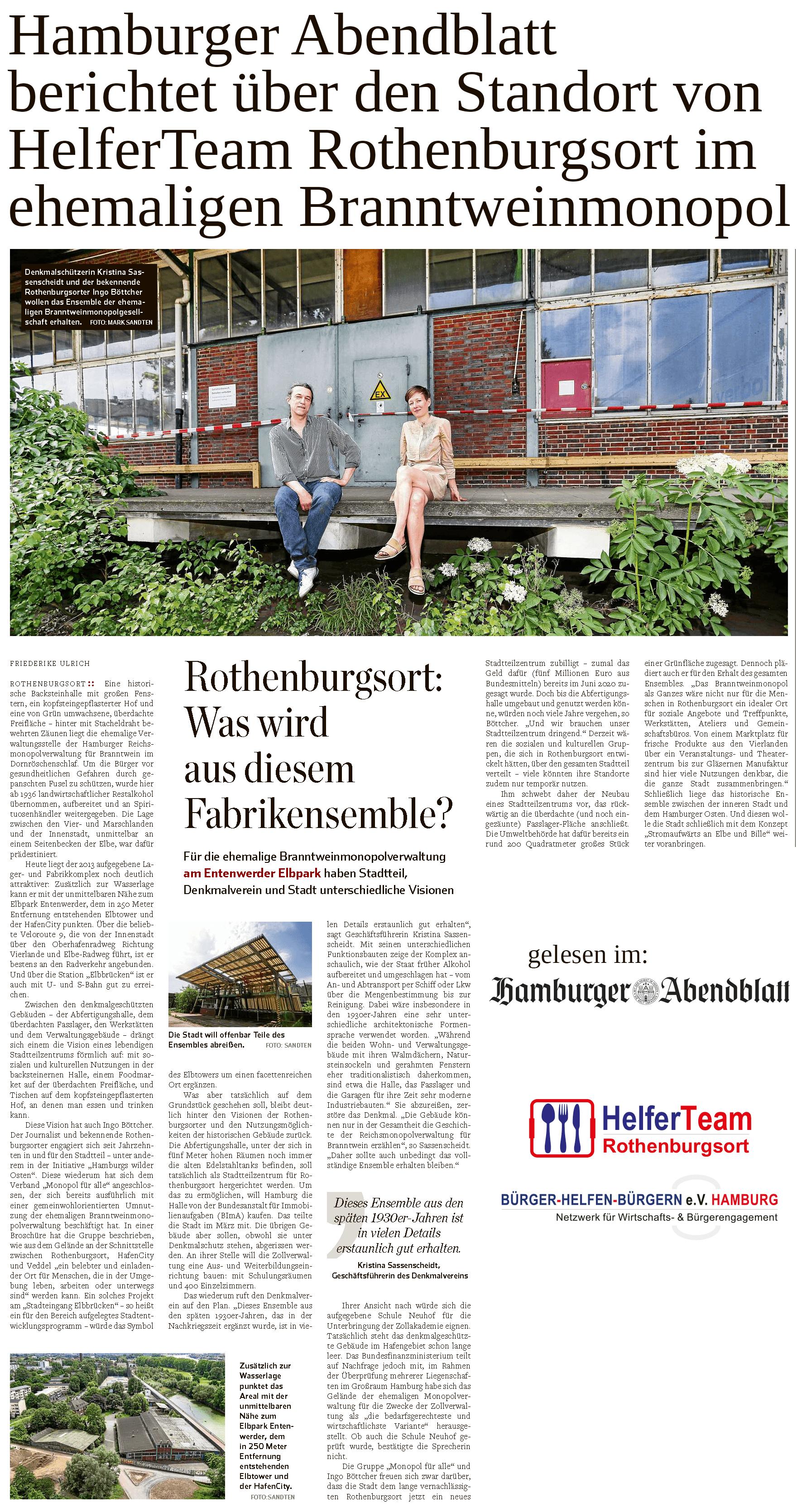 Hamburger Abendblatt berichtet über Standort von HelferTeam Rothenburgsort vom gemeinnützigen Trägerverein Bürger helfen Bürgern e.V. Hamburg